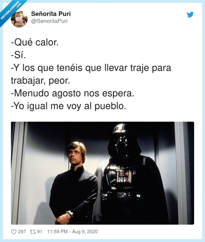 agosto,calor,darth,luke,starwars,trabajar,traje,vader