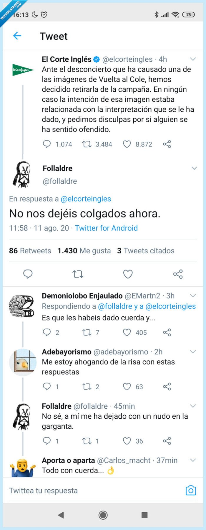 Cole,Corte Inglés,fail,Publicidad,Twitter,Vuelta
