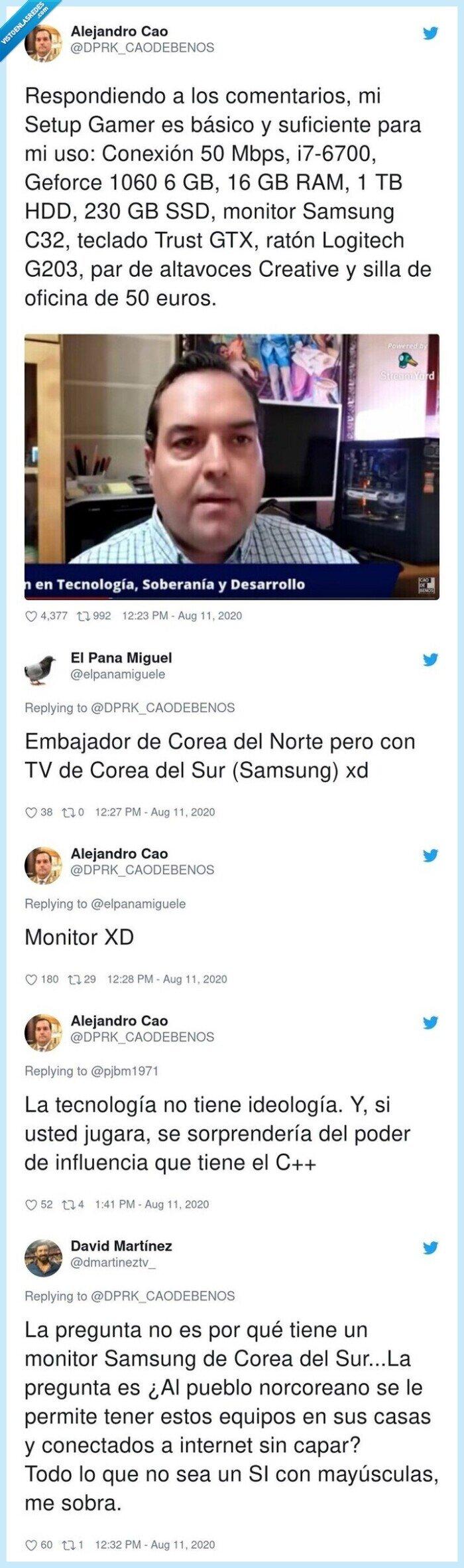 alejandro,cao,corea,detalle,embajador,gamer,norte,samsung