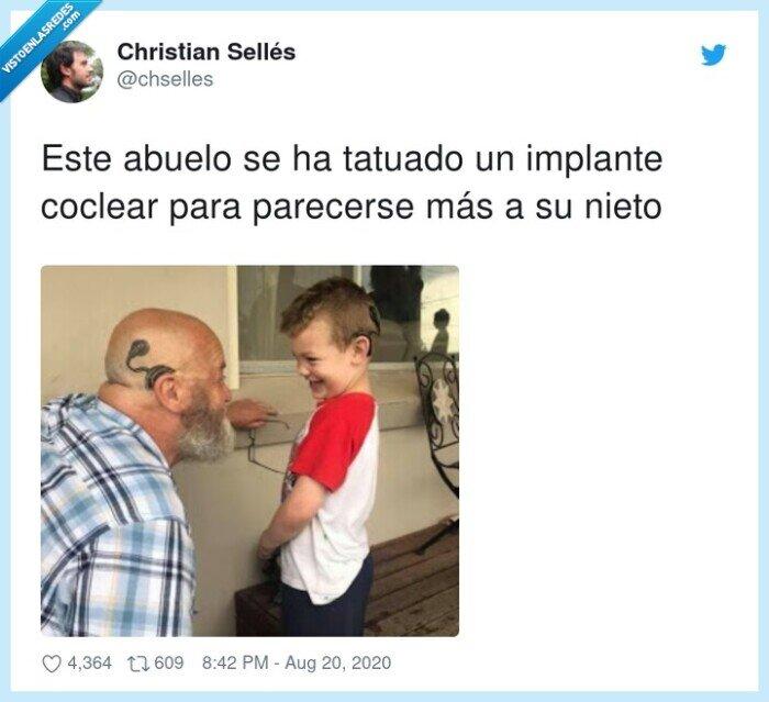 abuelo,coclear,implante,nieto,tatuado