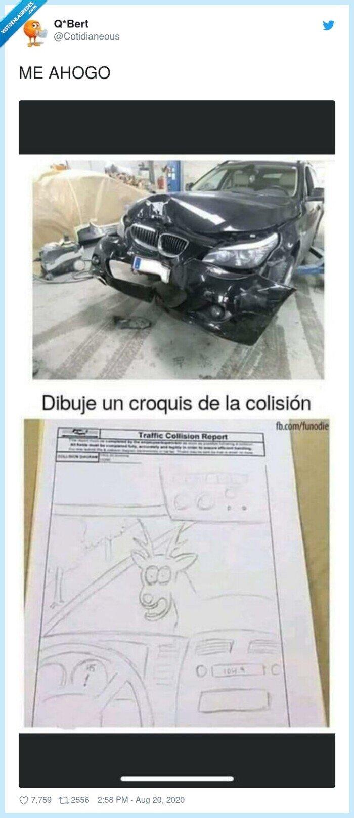 accidente,coche,descripción,dibujo
