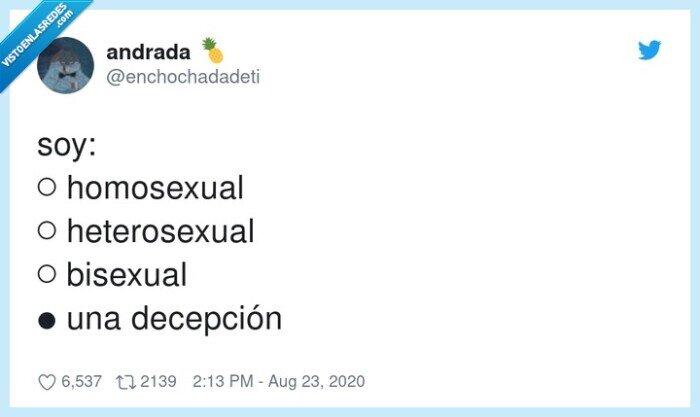 bisexual,condición,decepción,heterosexual,homosexual