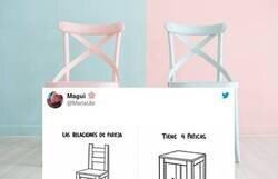Enlace a Hace un tweet muy viral comparando las relaciones de pareja con las sillas y todo el mundo la trolea con lo mismo