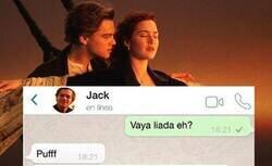 Enlace a Así hubiera sido la relación de Jack y Rose si en la época del Titanic hubiese existido Whatsapp, por @BrioEnfurecida