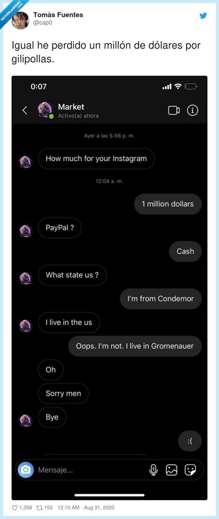 conversación,dinero,instagram,millón