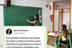 Enlace a Un político propone una rocambolesca solución al problema de la vuelta al cole y un profesor jubilado se hace viral dejándole bien claro lo que piensa al respecto, por @De_arenaa