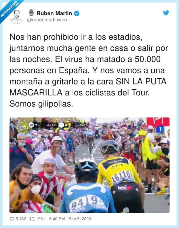 ciclistas,estadios,juntarnos,mascarilla,prohibido