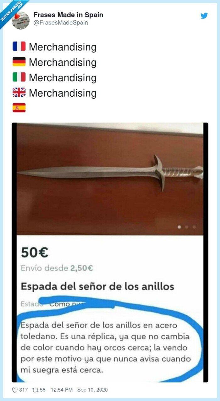 espada,merchandising,mujer,señor de los anillos,wallapop