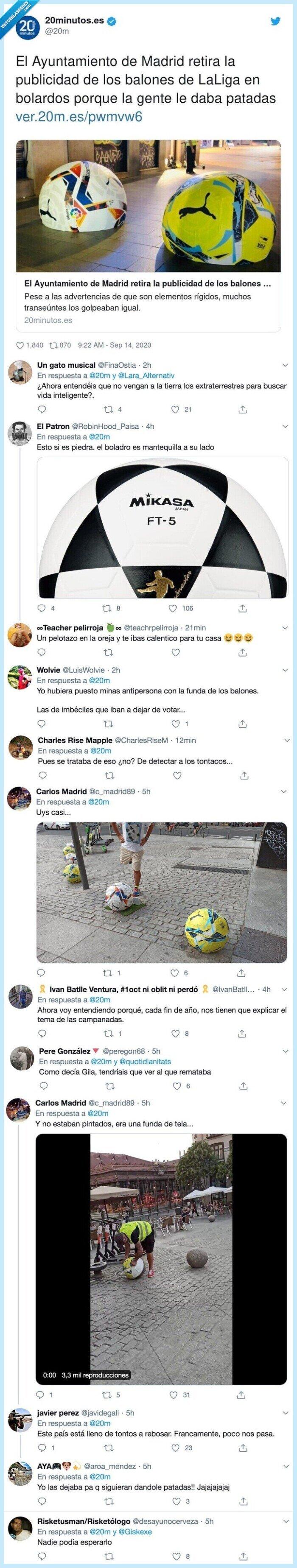 687072 - Madrid retira la publicidad de los balones de LaLiga en bolardos y todo el mundo opina lo mismo