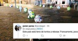 Enlace a Madrid retira la publicidad de los balones de LaLiga en bolardos y todo el mundo opina lo mismo