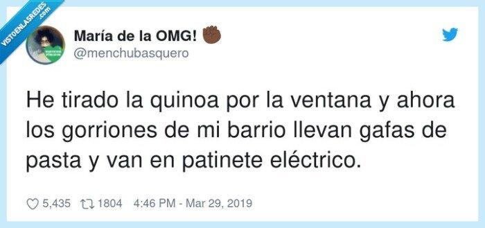 gorriones,patinete eléctrico,quinoa,ventana
