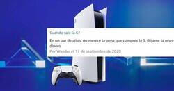 Enlace a La lamentable descripción de PS5 en Amazon junto con las respuestas a cachondeo