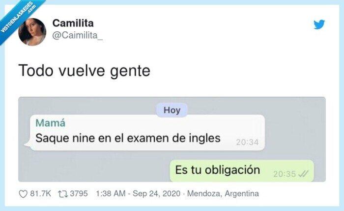 examen,inglés,madre,venganza