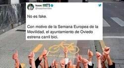 Enlace a Cachondeo absoluto con el recorrido de este carril bici lleno de obstáculos que se han inventado en Oviedo, por @isaacfcorrales