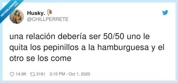 50/50,hamburguesa,pepinillos,relación