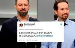 Enlace a El aplaudido doble zasca de un tuitero a Pablo Iglesias y Santiago Abascal que los deja a ambos a la misma altura política, por @fenixzintas