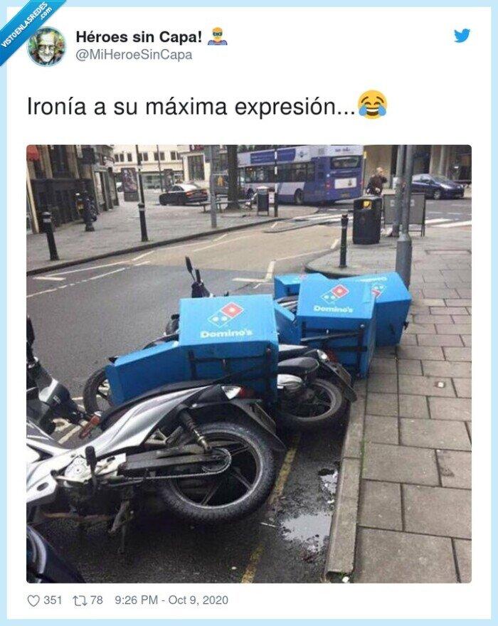 caída,domino,moto,pizza