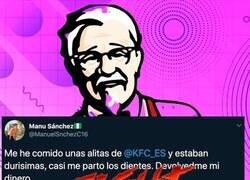 Enlace a Un cliente de KFC se queja en Twitter del mal estado de unas alitas de pollo e imita una de las troleadas más míticas de la historia de Internet, por @KFC_ES