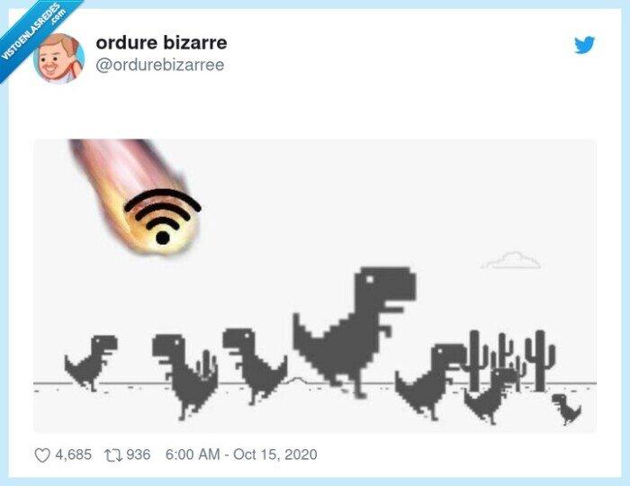 dinosaurios,extinción,internet,meteoritos,wifi