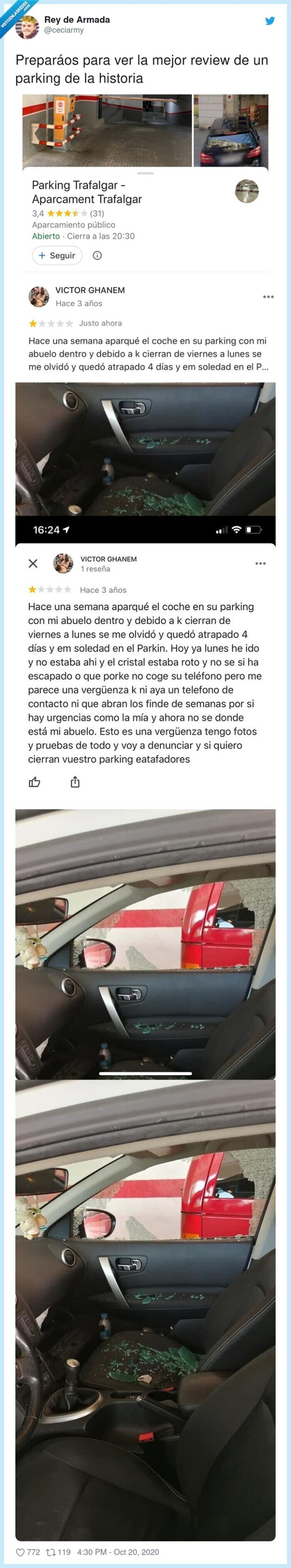 abuelo,parking,reseña,review