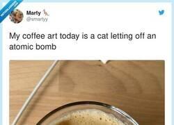 Enlace a El café ha dibujado un gato tirando una bomba  , por @smartyy