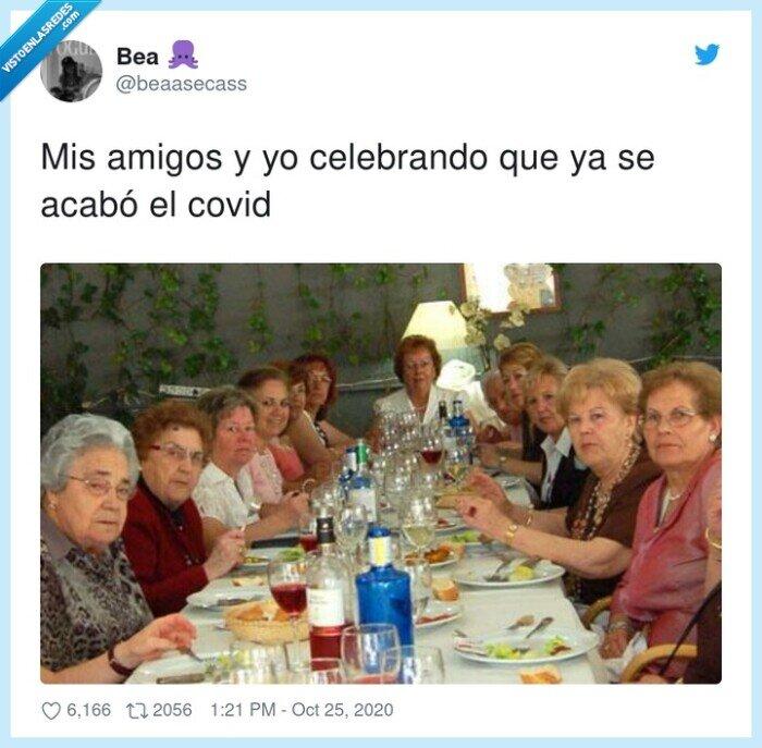 amigas,amigos,celebrando,covid,final