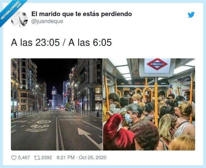 calles,metro,personas,queda,toque,vacías