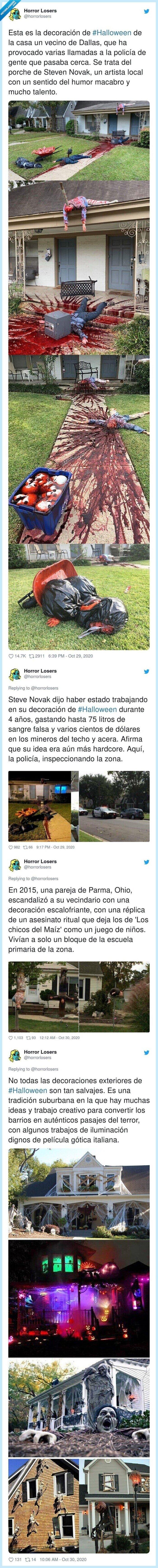 dallas,decoración,halloween,policía,vecino