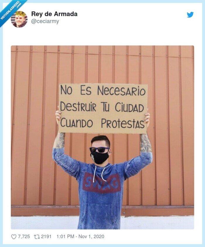 cartel,ciudad,destruir,disturbios,protestas