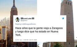 Enlace a Un cuenta de Twitter de Zaragoza compara la ciudad con Nueva York por esta foto y se está llevando una troleada de las que hacen historia, por @ZaragozaDirecto