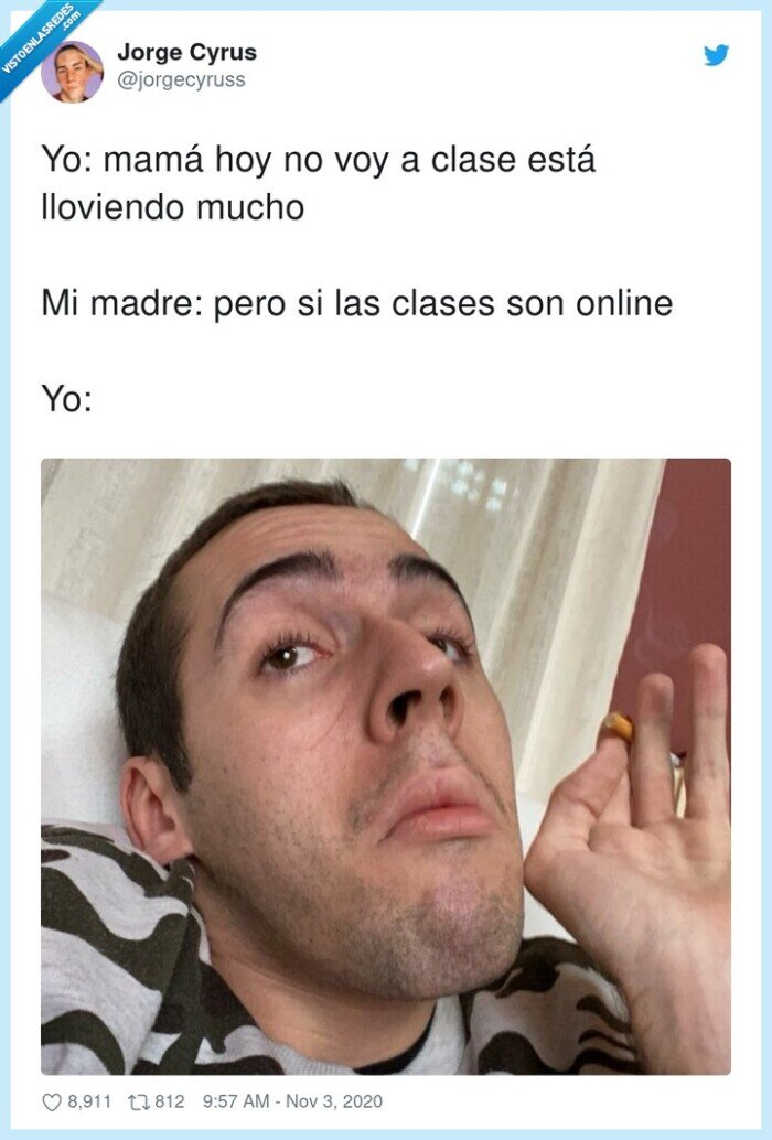 clases,excusa,lloviendo,mamá,online