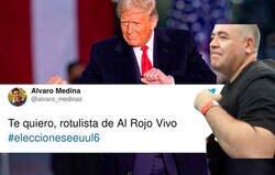 Enlace a El rotulista de 'Al Rojo Vivo' se convierte en el ídolo de Twitter por sus titulares reggaetoneros de las elecciones de los Estados Unidos
