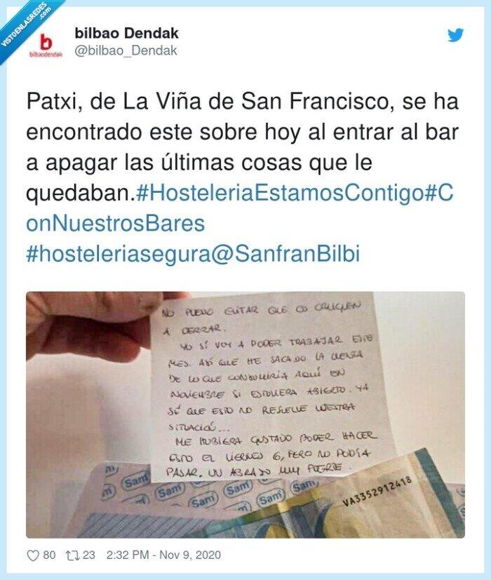 bar,bilbao,cliente,detalle,dinero,empatía,nota,solidaridad
