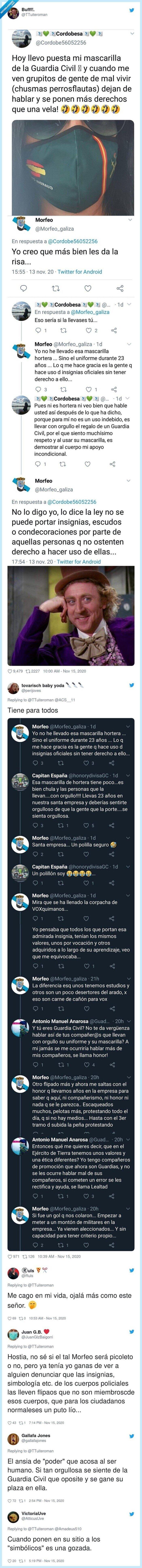 guardiacivil,insignia,mascarilla,policía,twitter,zasca