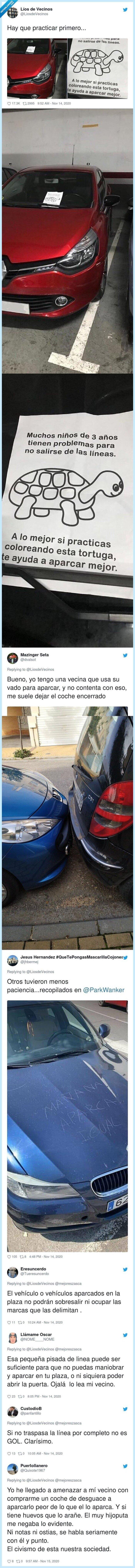 aparcamiento,raya,tortuga,troleada,twitter,vecino