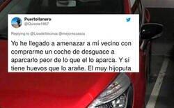 Enlace a Decide devolvérsela al vecino que siempre aparca mal con una troleada que le deja en ridículo y saca lo peor de Twitter, por @LiosdeVecinos