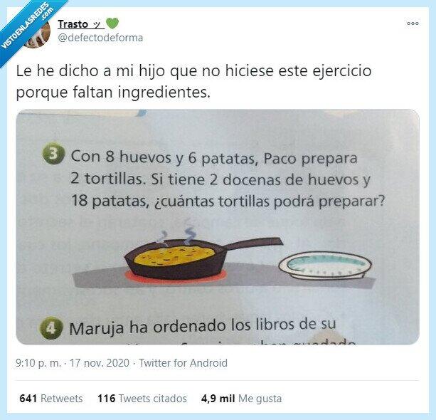 huevos,matemáticas,problema,tortilla