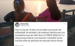Enlace a Una niña de 10 años nos da una lección de vida y amistad ayudando así a una compañera de colegio que lo necesitaba, por @Alfonso_Raja