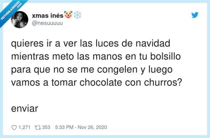 bolsillo,chocolate,churros,luces,navidad