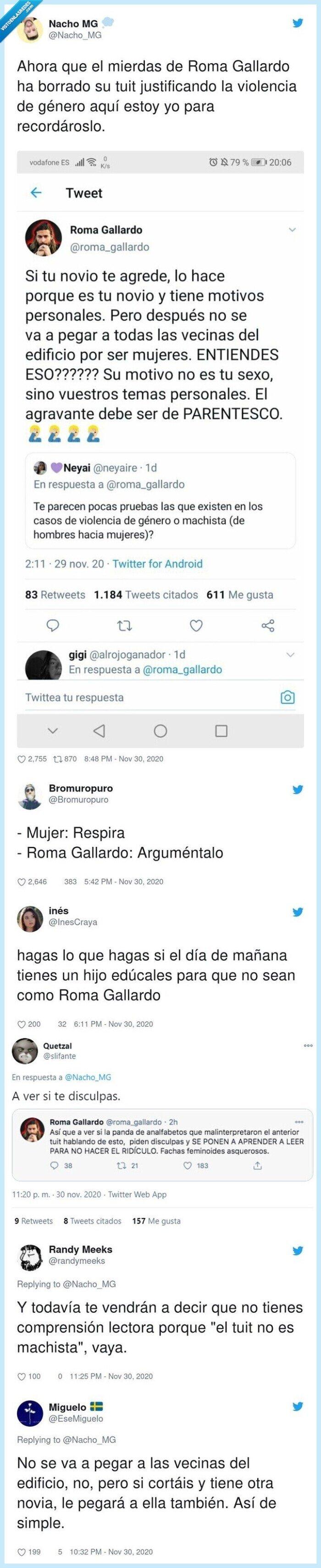 gallardo,género,roma,tweet,violencia,youtuber