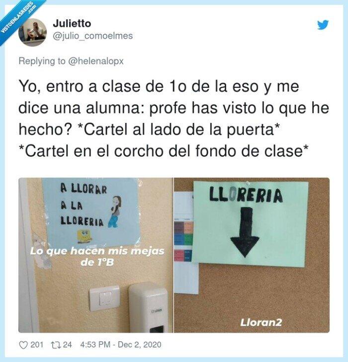 alumnos,cartel,llorar,llorería,puerta