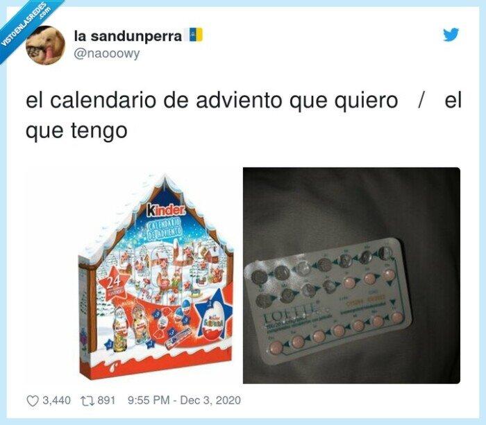 adviento,anticonceptivas,calendario,navidad,pastillas