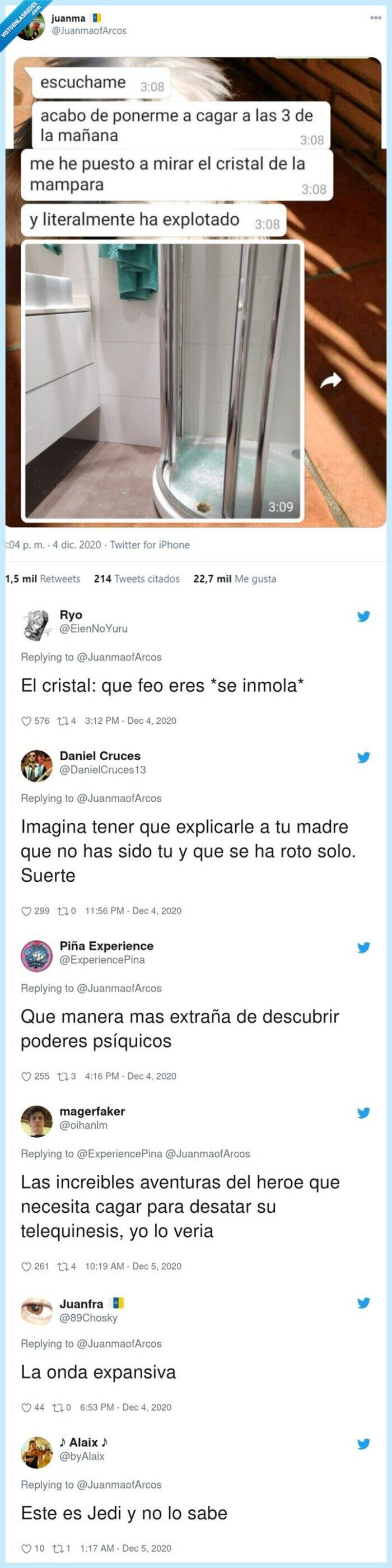 cachondeo,cagar,lavabo,mampara,superpoderes,telequinesis,twitter