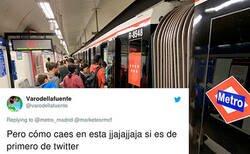 Enlace a El CM del Metro de Madrid peca de pardillo y se la meten doblada en Twitter, por @marketesrmcf