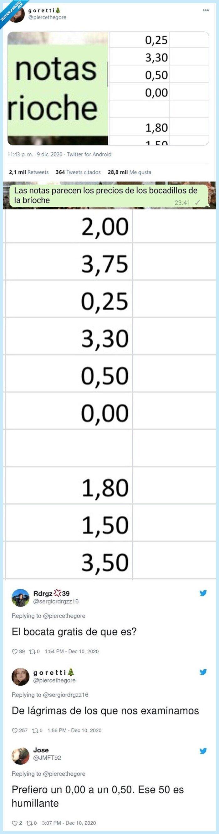 bocadillo,examen,notas,precio