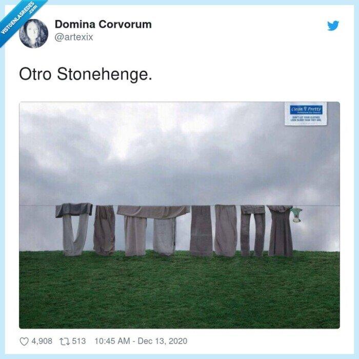 ropa,stonehenge,sucia,tendida