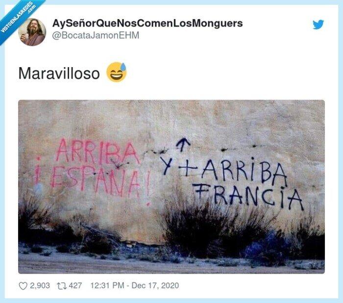 arriba,arriba españa,francia,pared,pintada