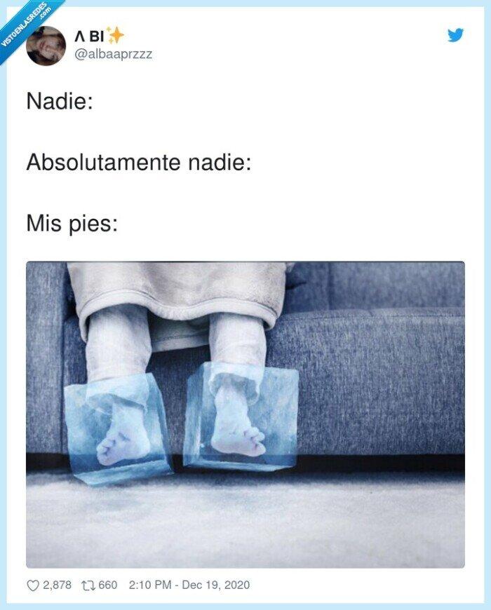 cubitos,frío,pies
