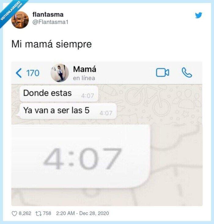 hora,llegada,mamá,siempre