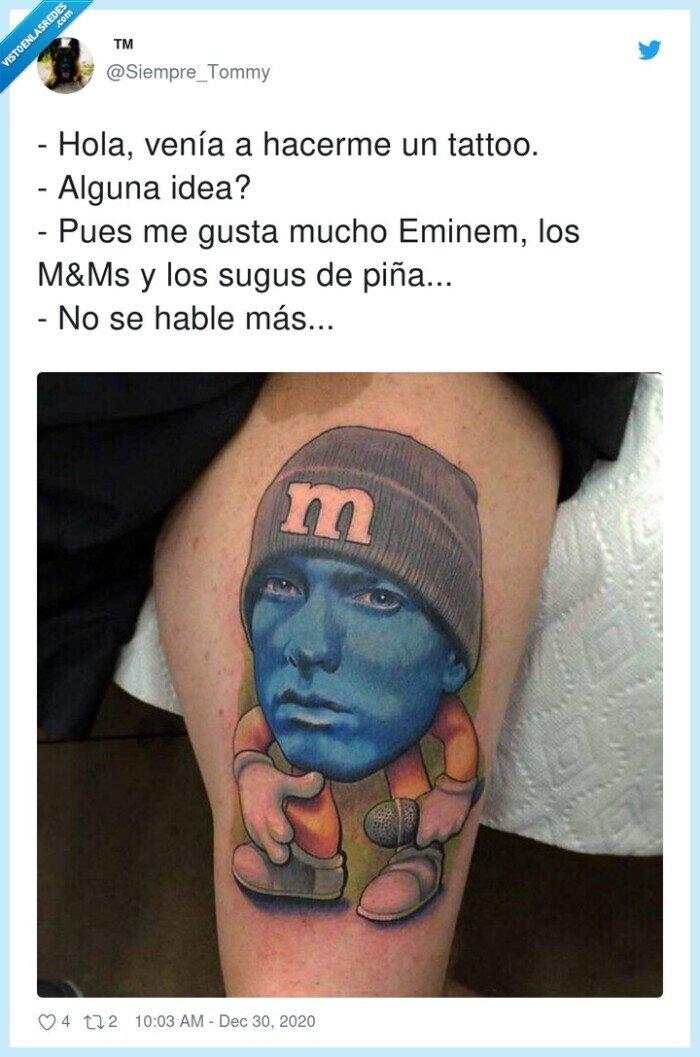 eminem,m&m,piña,sugus,tattoo,tatuaje